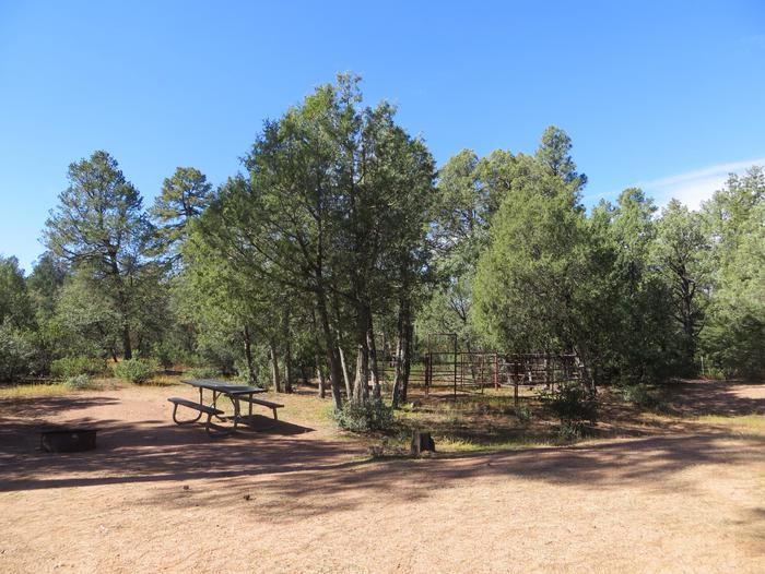 Houston Mesa, Horse Camp site #19 featuring entrance and parking, picnic area and horse corral.