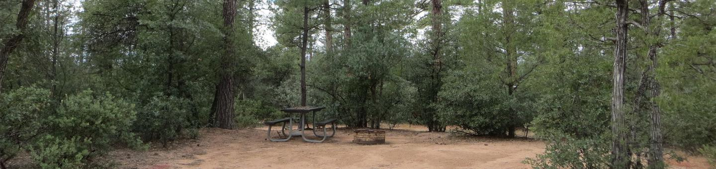 Houston Mesa, Elk Loop site #20 featuring entrance to the wooded site, fire pit, and picnic table.