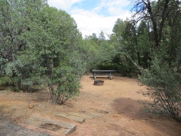 Houston Mesa, Elk Loop site #21 featuring large camping space with picnic table and fire pit.