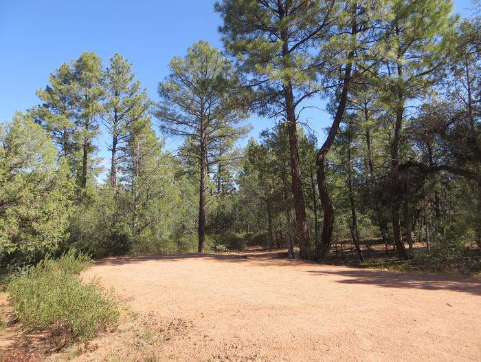 Houston Mesa, Horse Camp site #23 featuring entrance, parking, and shaded picnic area.