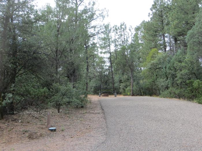 Houston Mesa, Elk Loop site #23 featuring parking, entrance to the wooded site, and picnic area.
