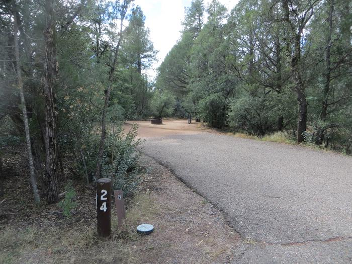 Parking space and entrance to site #24, Elk Loop at Houston Mesa.
