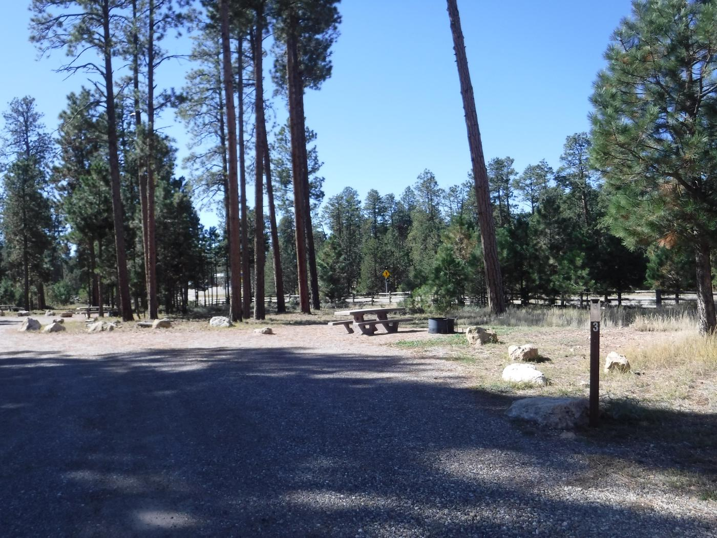 Jacob Lake site #03 featuring entrance, parking, and full camp space view.