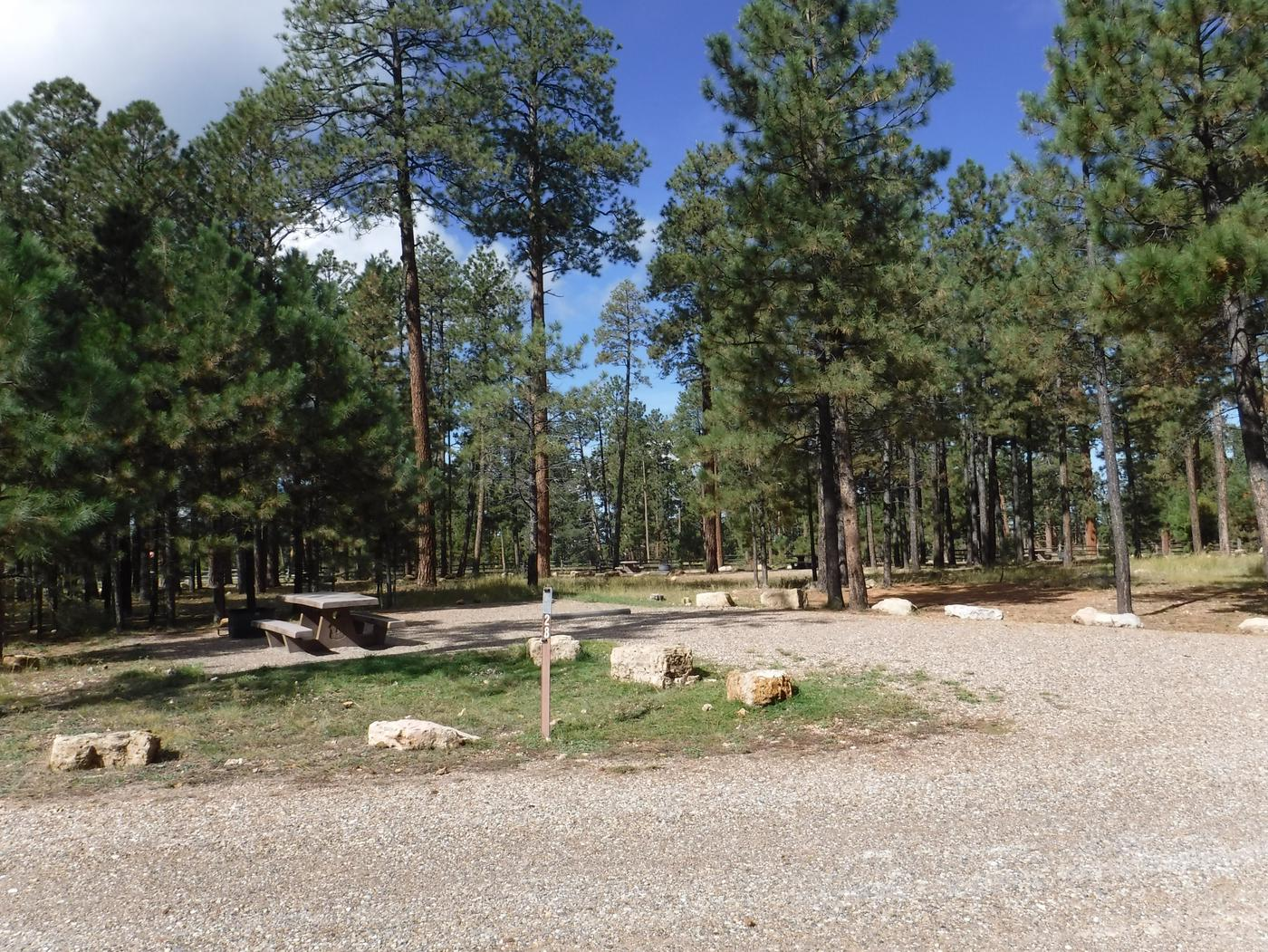 Jacob Lake site #28 featuring entrance, parking, and full camp space view.