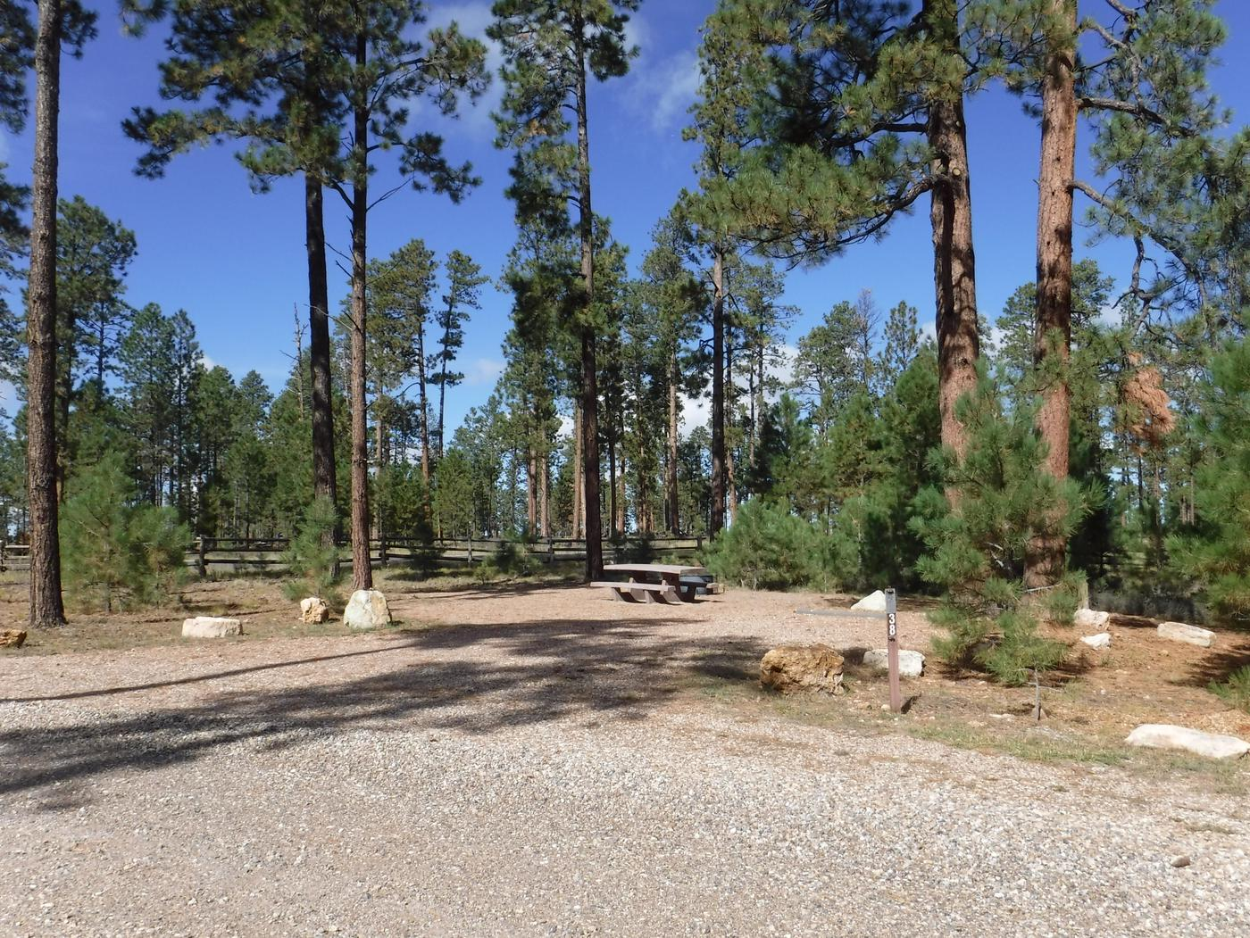 Jacob Lake site #38 featuring entrance, parking, and full camp space view.