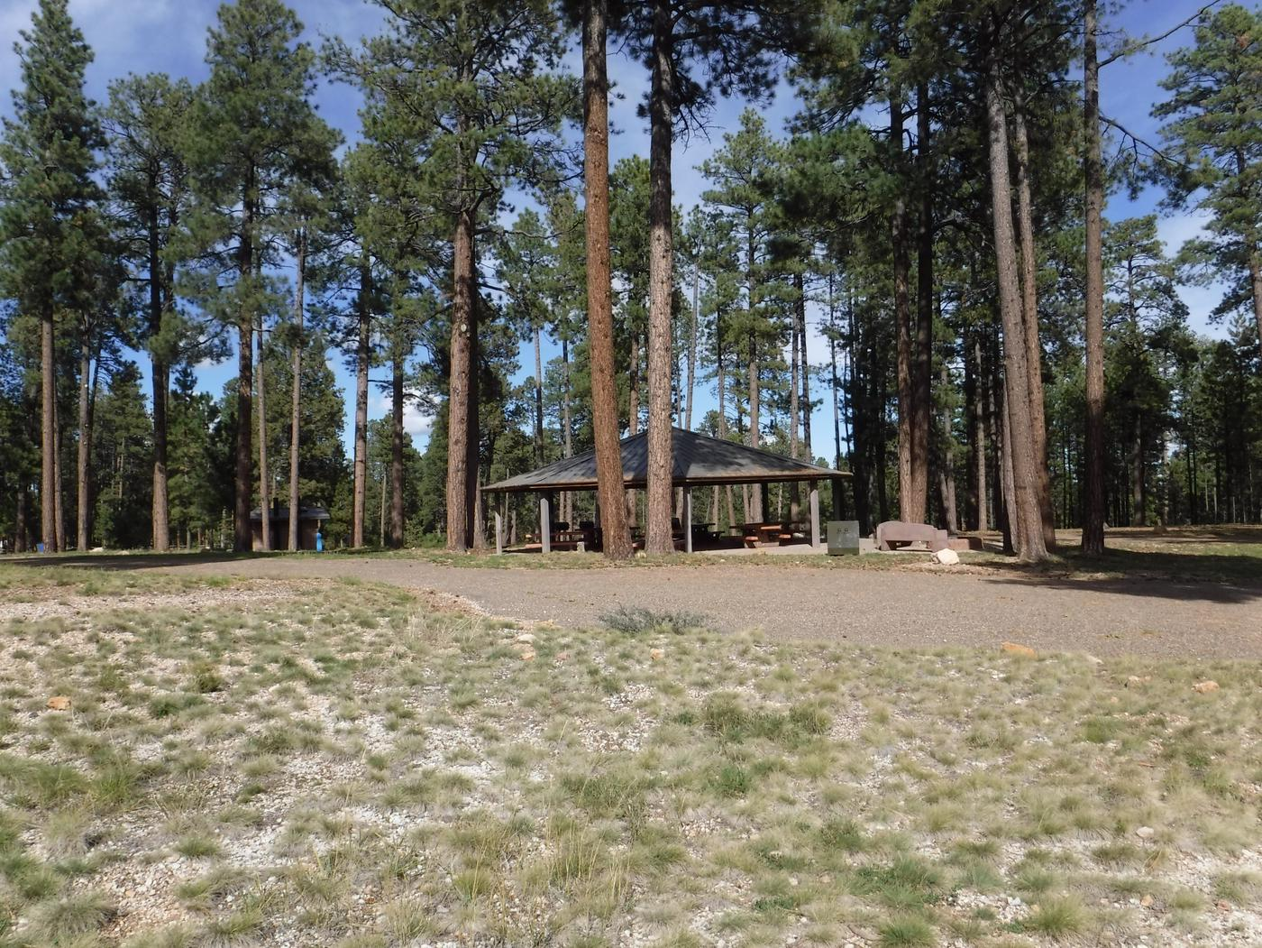 Jacob Lake group site A featuring entrance, parking, and full camp space view.
