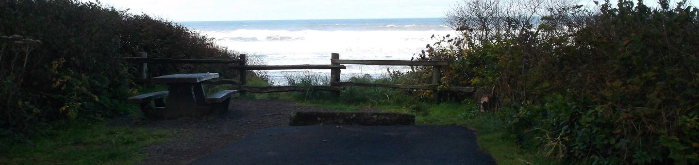 Picture of campsite with picnic table and ocean viewCampsite D35