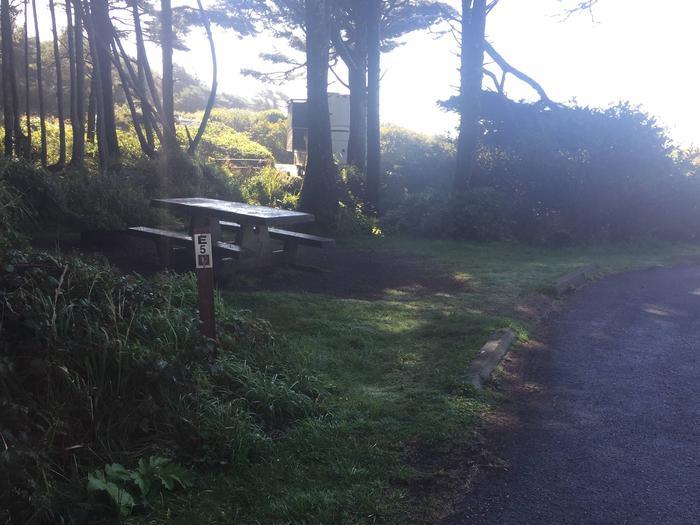Picture of campsite with picnic table Campsite E2