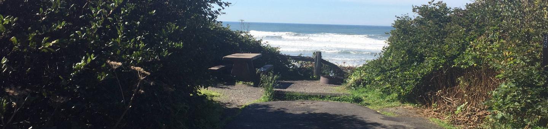Picture of campsite with picnic table near oceanCampsite E9