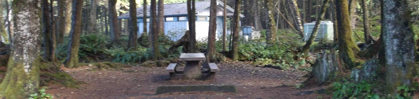 Picture of campsite with picnic tableCampsite F2