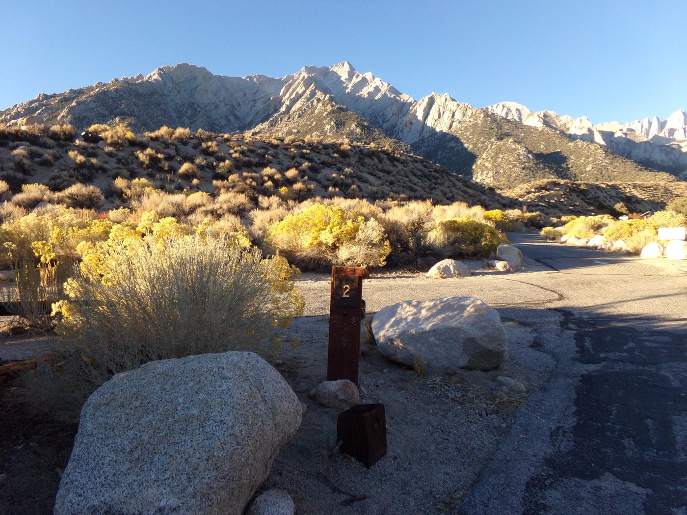 Entrance to site #02 and features the mountain views at Lone Pine Campground.