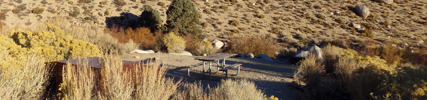 Lone Pine Campground site #03 full campsite view with picnic area and camping space.