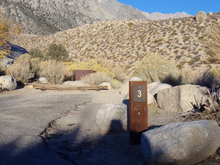 Parking space and entrance to site #03, Lone Pine Campground.