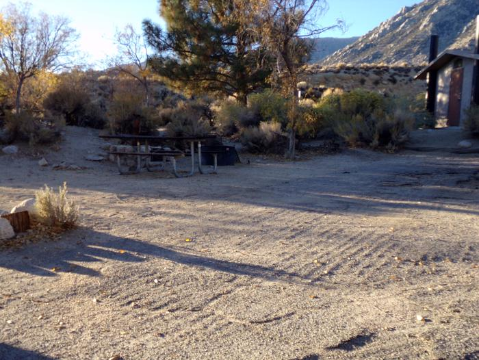 Lone Pine Campground site #10 featuring picnic area and fire pit with mountain views. Lone Pine Campground site #10 featuring picnic area and fire pit with mountain views. Close proximity to restrooms.