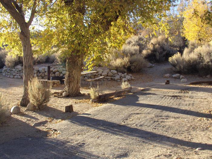 Parking space and entrance to site #12, Lone Pine Campground.