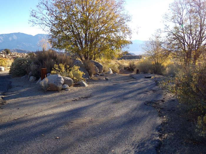 Parking space and entrance to site #26, Lone Pine Campground.