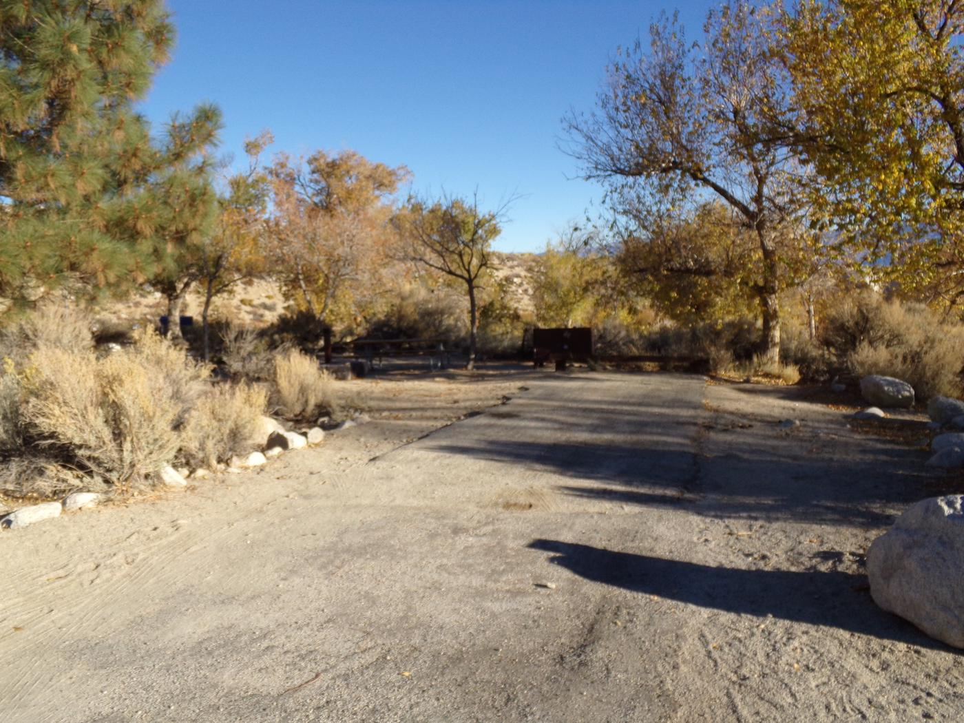 Parking space and entrance to site #38, Lone Pine Campground.