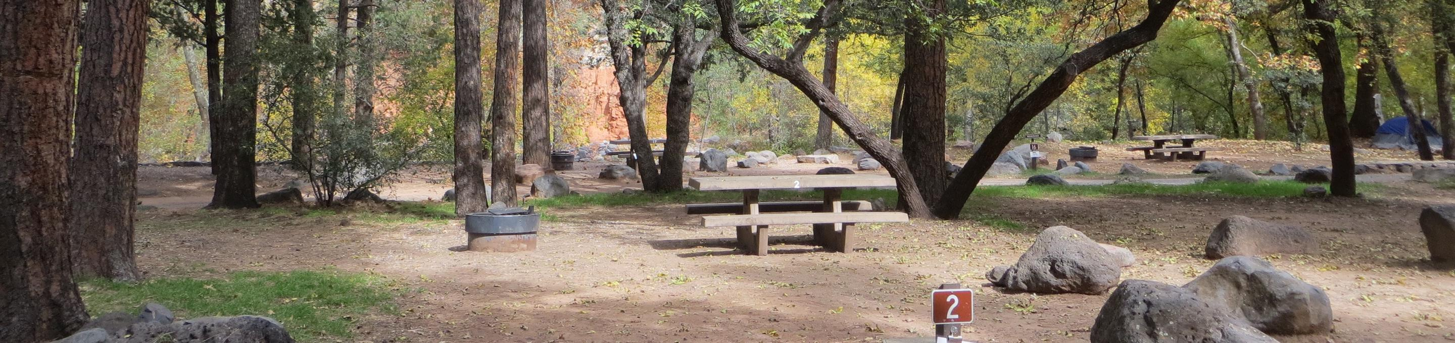 Manzanita Campground site #02 featuring the treed picnic area, camping space, and fire pit.