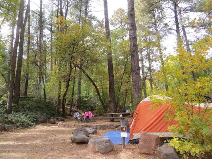 Manzanita Campground site #04 featuring the treed picnic area, camping space, and fire pit.