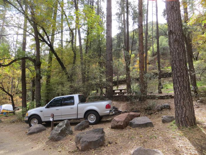 Manzanita Campground site #05 featuring the treed picnic area, camping space, and fire pit.