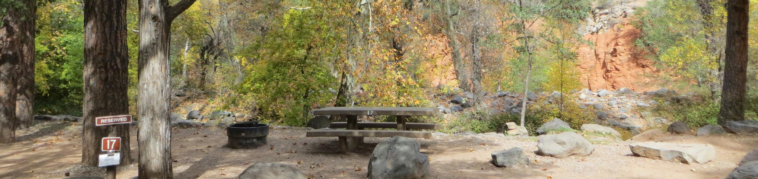 Manzanita Campground site #17 featuring the treed picnic area, camping space, and fire pit.