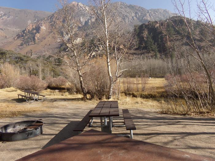Table Mountain Group Campground featuring large picnic area among the trees with mountain views. Table Mountain Group Campground featuring large picnic area among the trees, backing to the creek, and mountain views.
