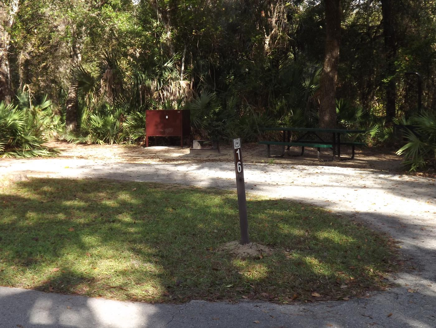 Juniper Springs Recreation Area site #16 tropical setting with picnic area and camping space.