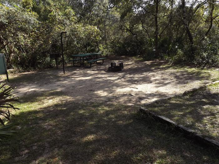 Juniper Springs Recreation Area site #46 tropical setting with picnic area and camping space.