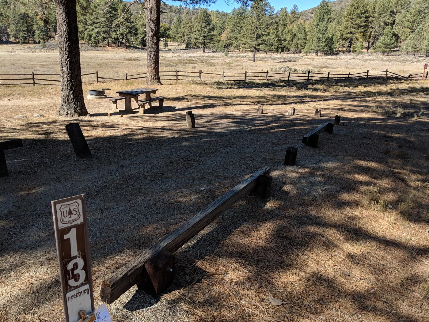Laguna Campground site #13 wooded camping space view and picnic area.