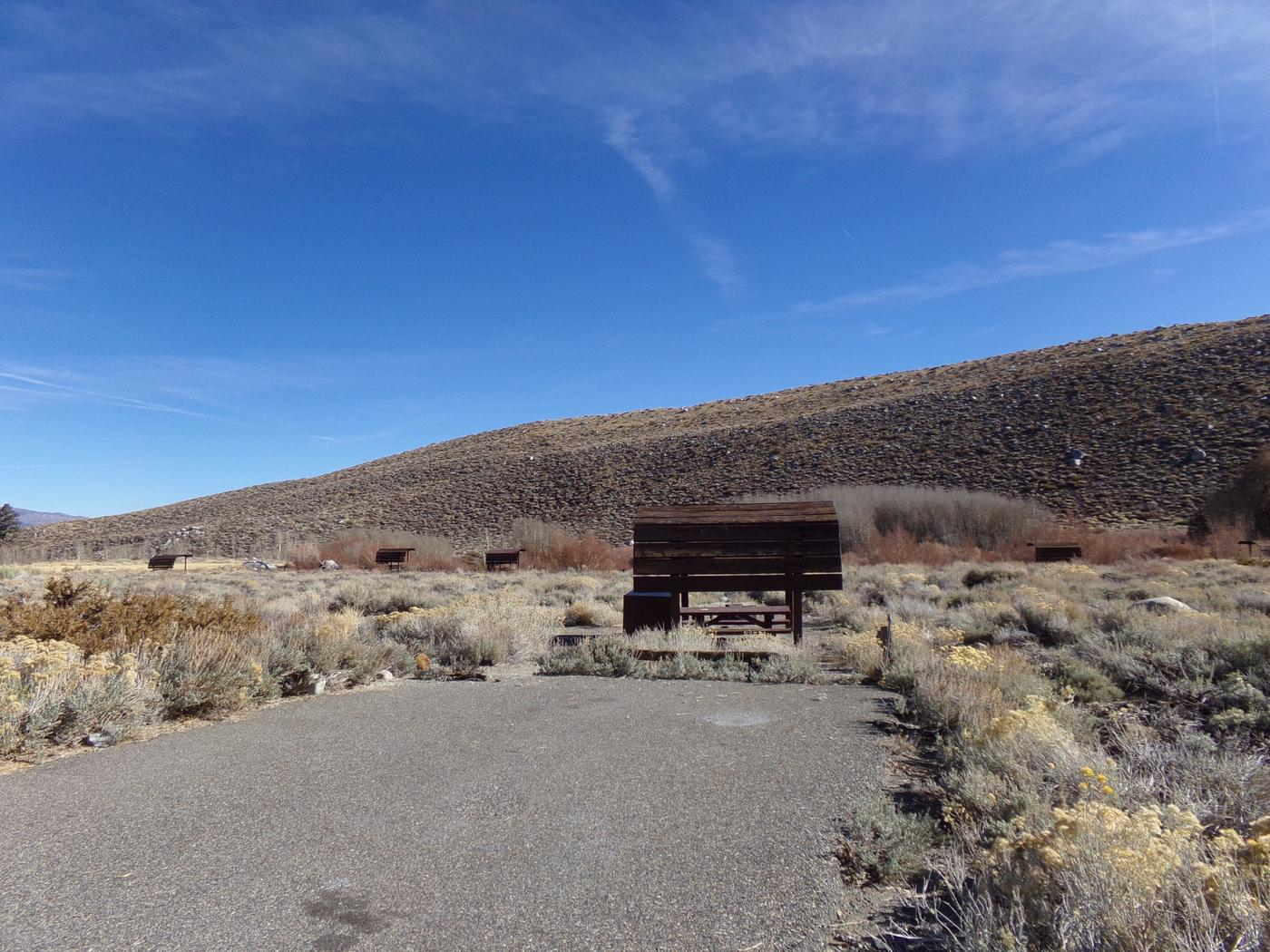 Parking space and entrance to site #11, McGee Creek Campground.