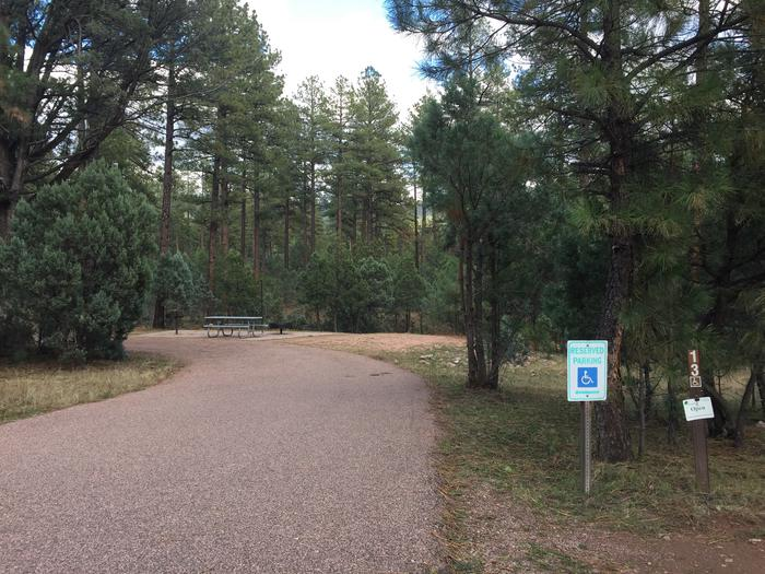 Parking space and entrance to site #13, Sharp Creek Campground.