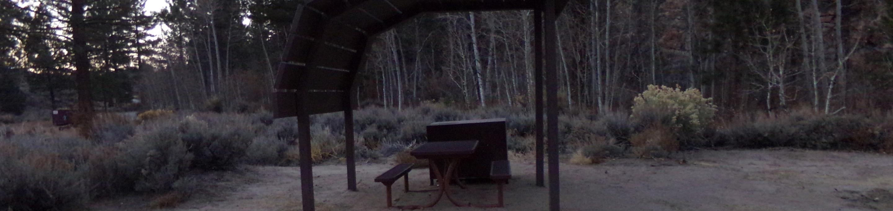 Tuff Campground site #17 featuring shaded picnic area with camping space and fire pit.