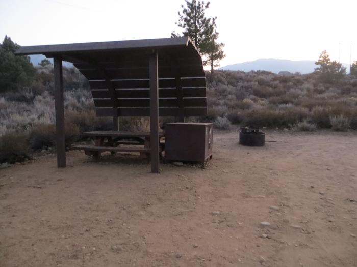 Tuff Campground site #25 featuring the shaded picnic area with camping space and fire pit by the mountain side.