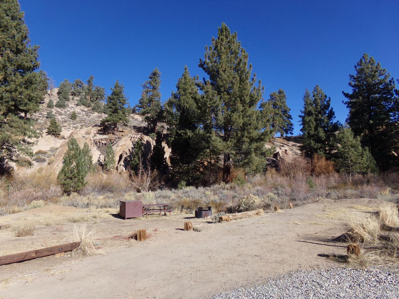 Parking space and entrance to site #32, Tuff Campground.