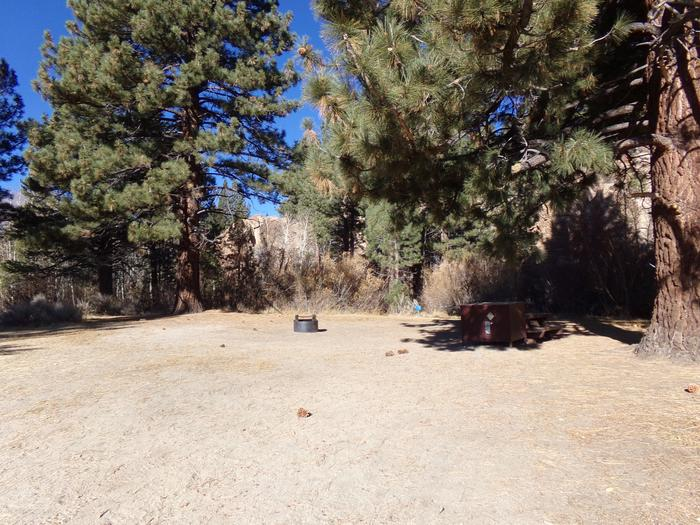 Tuff Campground site #33 featuring the picnic area with camping space and fire pit among the trees.