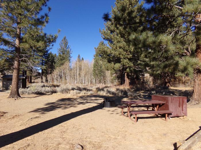 Tuff Campground site #34 featuring the picnic area with camping space and fire pit among the trees.