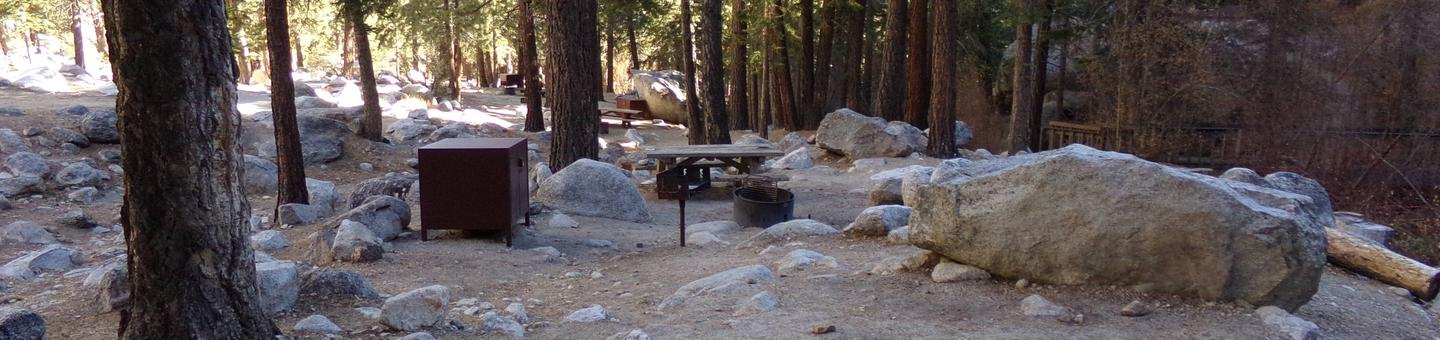 Mt. Whitney Portal Campground site #01 featuring mountain top setting with picnic area and camping space.