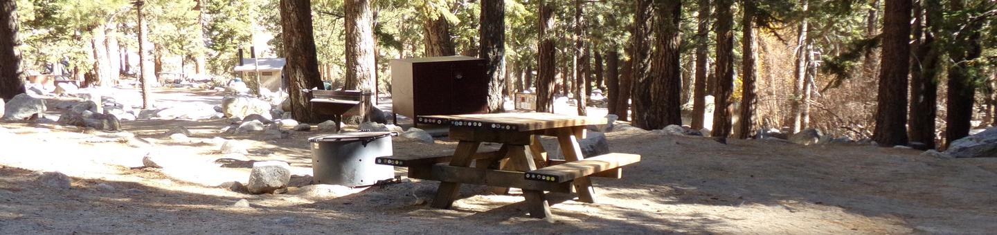 Mt. Whitney Portal Campground site #03 featuring mountain top setting with picnic area and camping space.