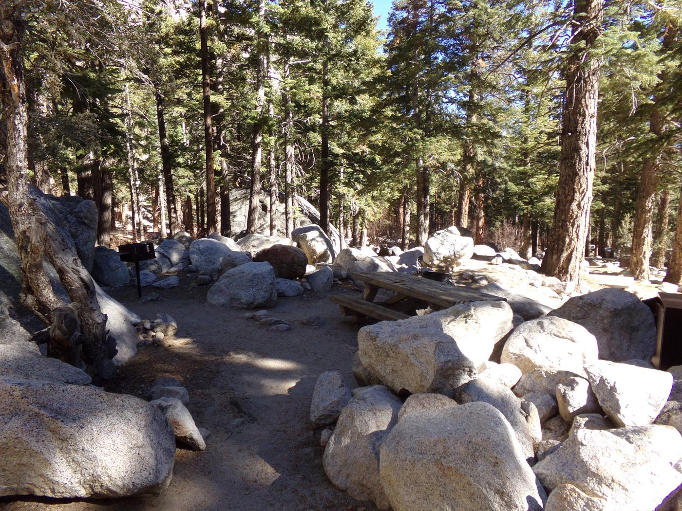 Mt. Whitney Portal Campground site #05 featuring mountain top setting with picnic area and camping space.
