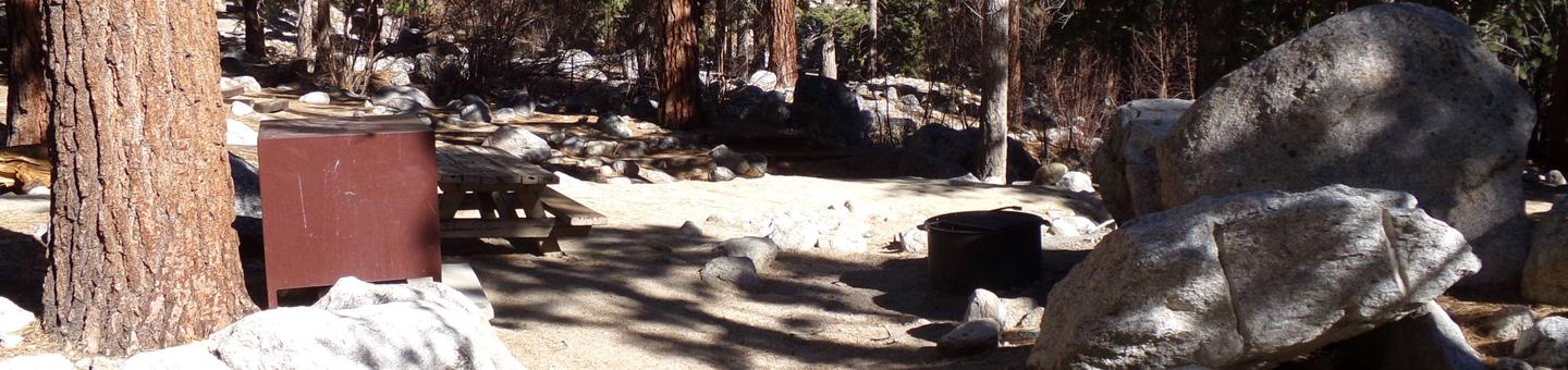Mt. Whitney Portal Campground site #07 featuring mountain top setting with picnic area and camping space.