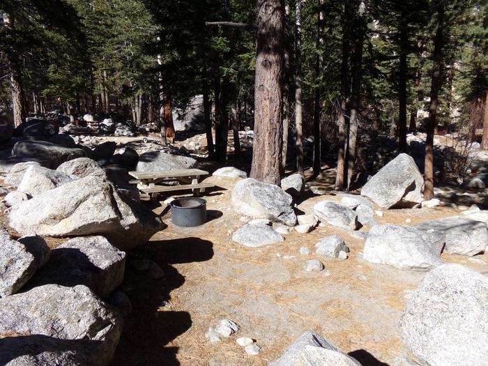 Mt. Whitney Portal Campground site #08 featuring mountain top setting with picnic area and camping space.