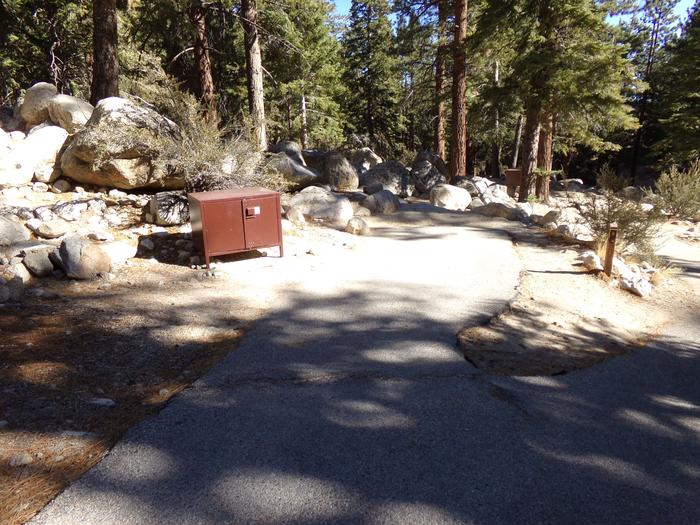 Mt. Whitney Portal Campground site #08 featuring food storage and camping space.