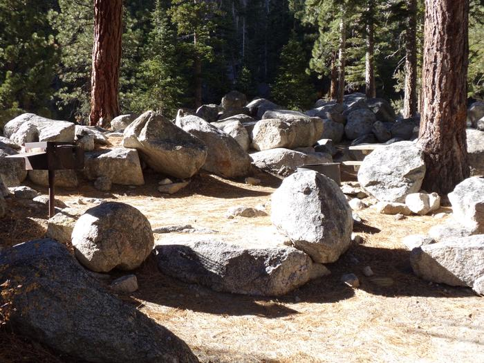 Mt. Whitney Portal Campground site #08 featuring fire pit and camping space.