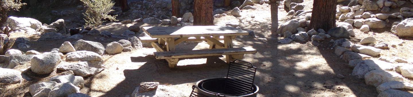 Mt. Whitney Portal Campground site #09 featuring mountain top setting with picnic area and camping space.