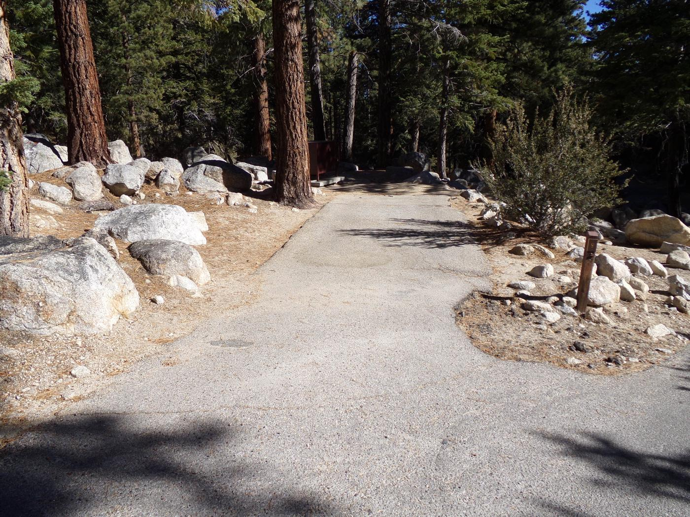 Parking space and entrance to site #09, Mt. Whitney Portal Campground.