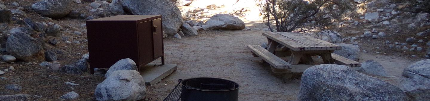 Mt. Whitney Portal Campground site #10 featuring mountain top setting with picnic area and camping space.