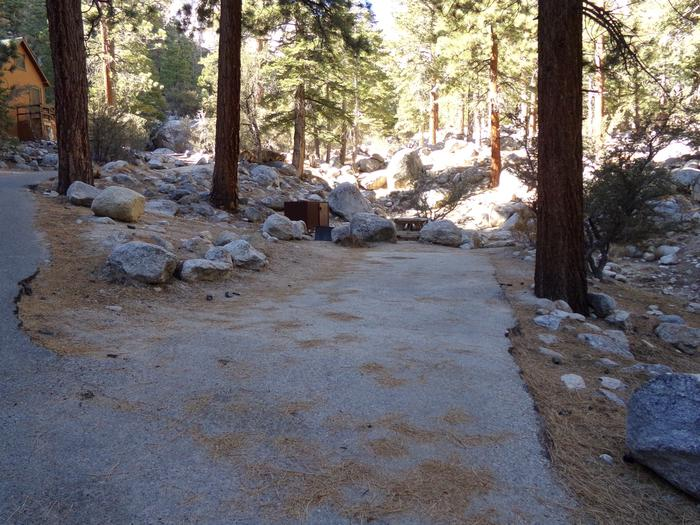 Parking space and entrance to site #10, Mt. Whitney Portal Campground.