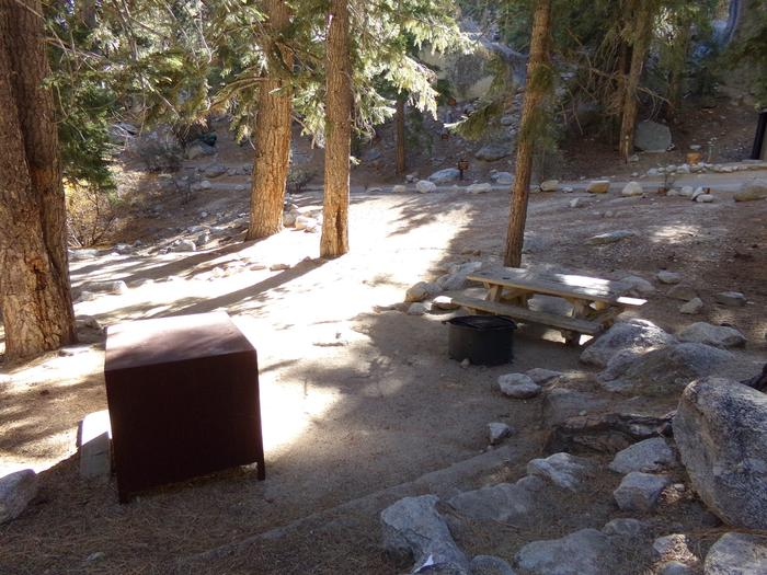 Mt. Whitney Portal Campground site #11 featuring mountain top setting with picnic area and camping space.