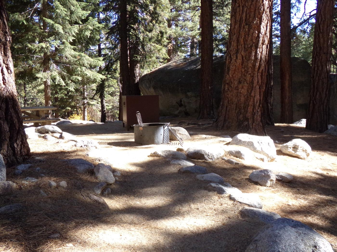 Mt. Whitney Portal Campground site #13 featuring mountain top setting with picnic area and camping space.