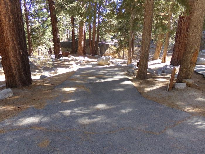 Parking space and entrance to site #13, Mt. Whitney Portal Campground.